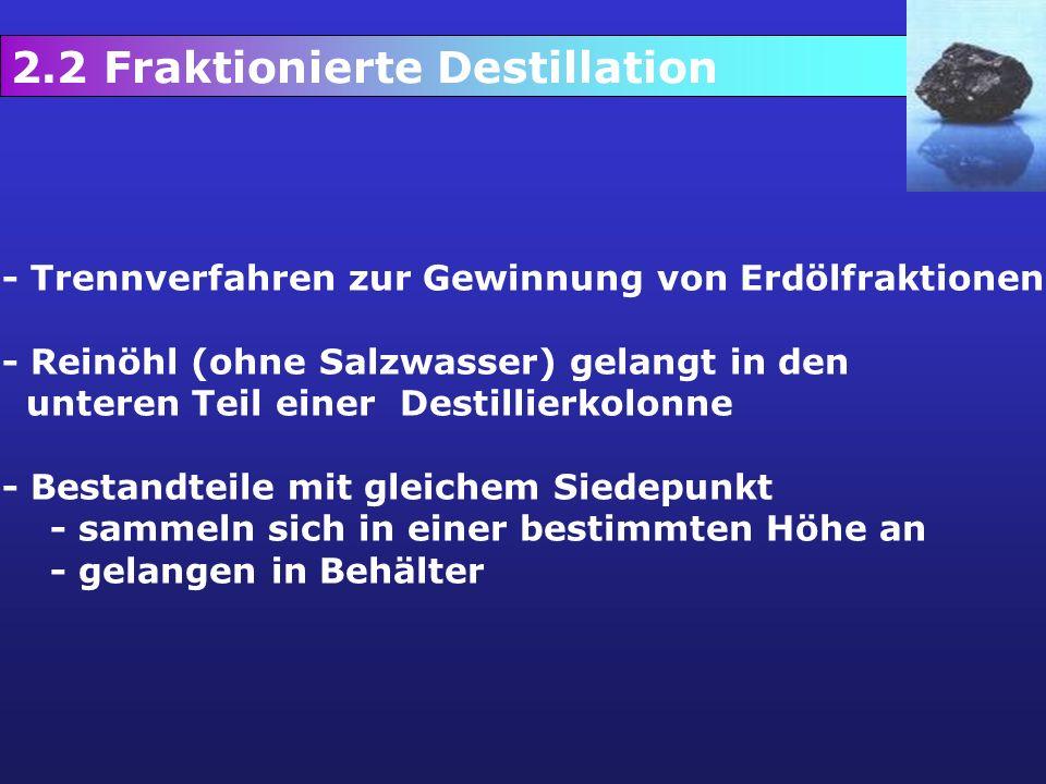 2.2 Fraktionierte Destillation - Trennverfahren zur Gewinnung von Erdölfraktionen - Reinöhl (ohne Salzwasser) gelangt in den unteren Teil einer Destil