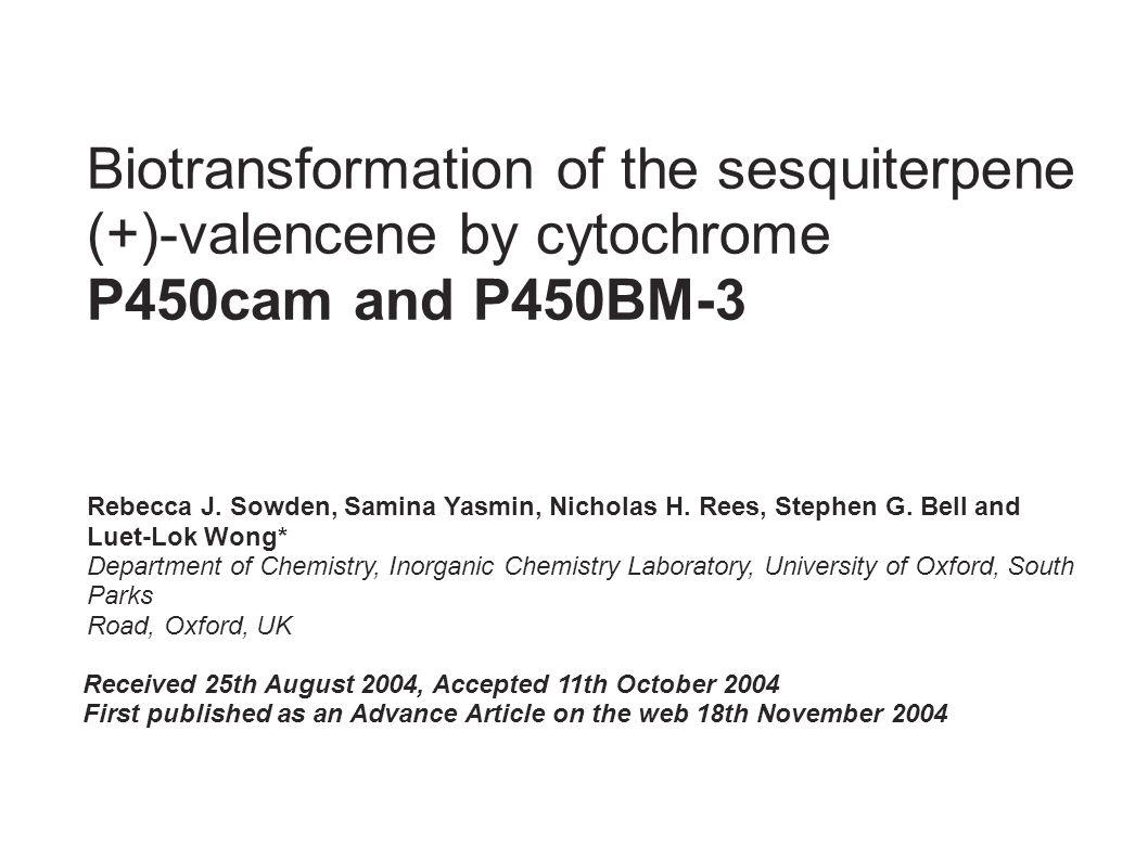 Zusammenfassung: P450 cam oxidiert Valencene mit hoher Regioselektivität aber geringer Aktivität: Wahrscheinlich nur eine Orientierung des Substrats möglich P450cam produzierte bis zu 47% Nootkatone P450 BM-3 zeigt höhere Aktivität als P450 cam P450 BM-3 zeigt geringe Regioselektivität, dadurch große Produktvielfalt Keine Inhibition durch Nootkatone bei beiden Enzymen Beide Enzyme benötigen weitere Optimierung