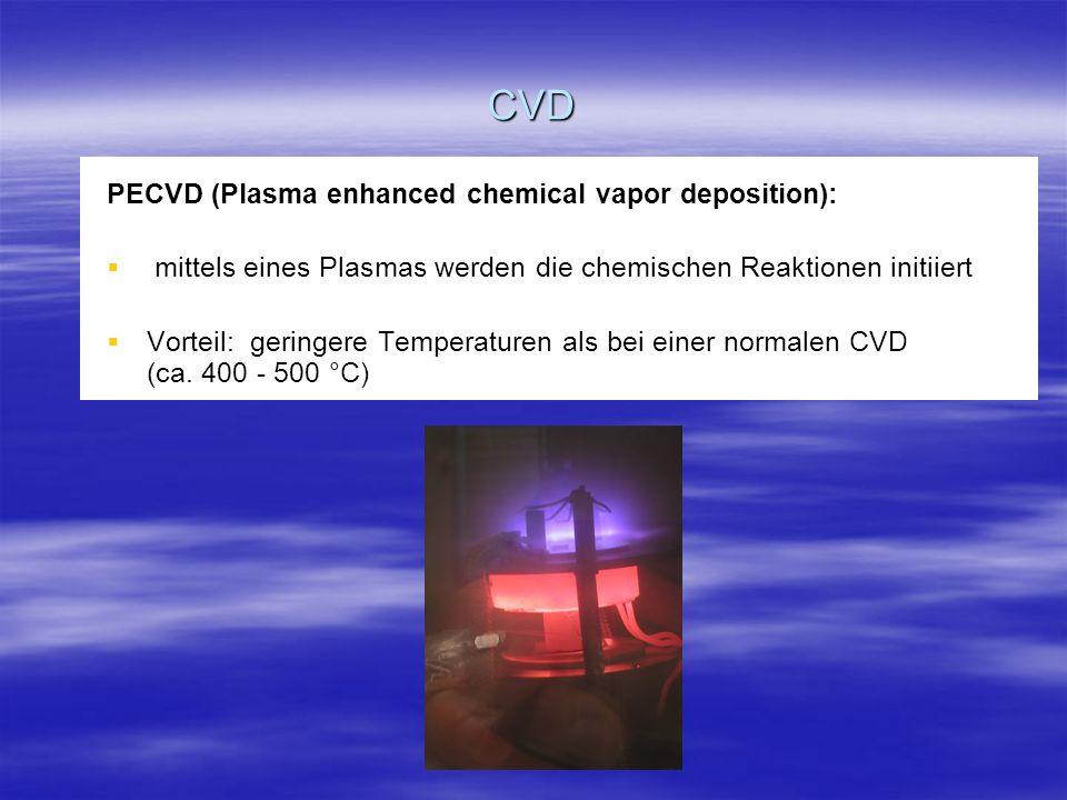 CVD PECVD (Plasma enhanced chemical vapor deposition): mittels eines Plasmas werden die chemischen Reaktionen initiiert mittels eines Plasmas werden d