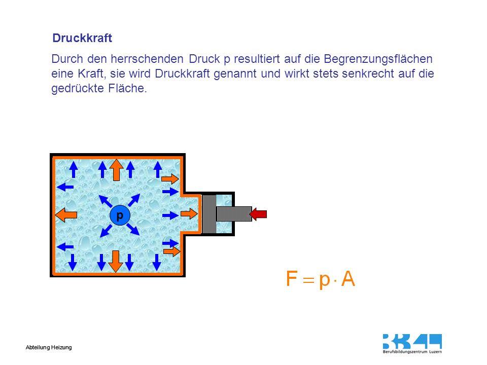 Abteilung Heizung Hydraulische Kraftübersetzung p Der Druck p ist im ganzen Druckraum gleich gross F1F1 A1A1 F2F2 A2A2