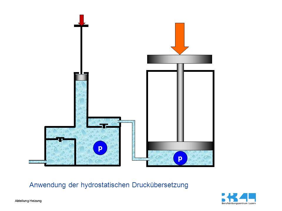 Abteilung Heizung Anwendung der hydrostatischen Druckübersetzung h1h1 h2h2 A1A1 A2A2 V1V1 V2V2 F2F2 F1F1 p p
