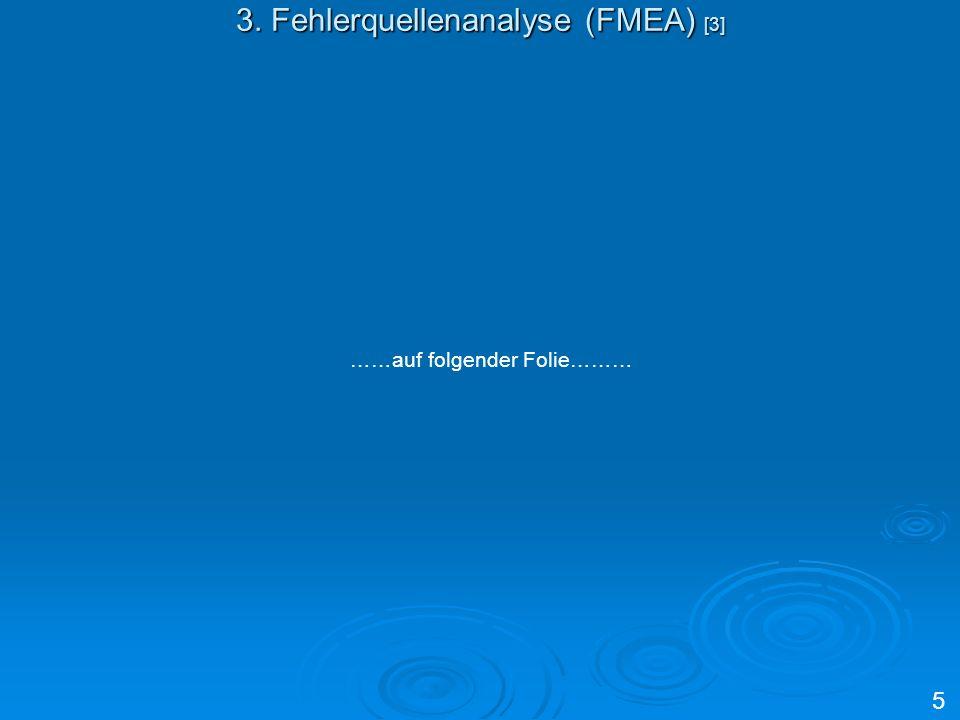 3. Fehlerquellenanalyse (FMEA) [3] ……auf folgender Folie……… 5
