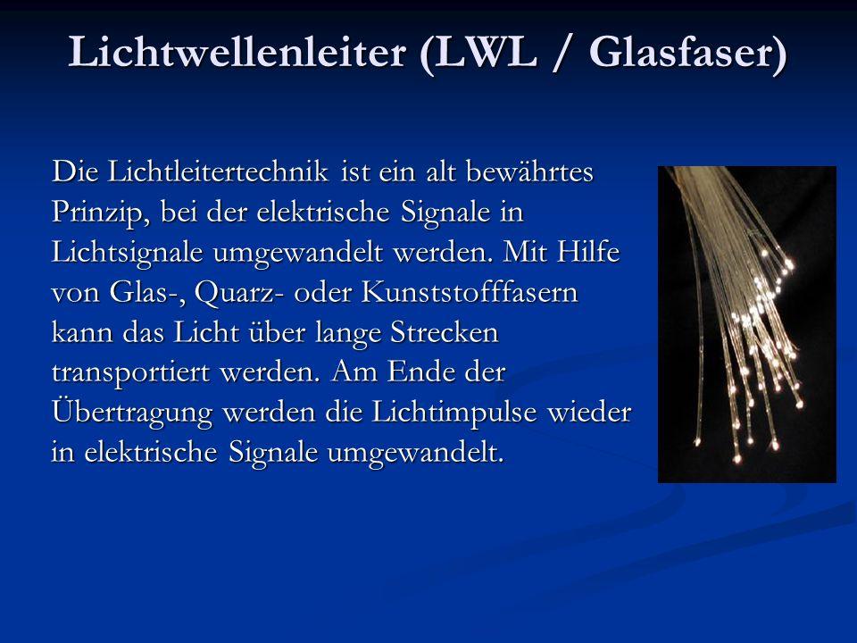 Lichtwellenleiter (LWL / Glasfaser) Die Lichtleitertechnik ist ein alt bewährtes Prinzip, bei der elektrische Signale in Lichtsignale umgewandelt werd