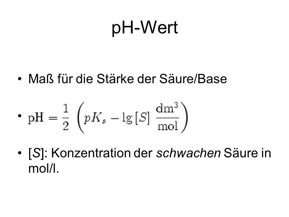 pH-Wert Maß für die Stärke der Säure/Base [S]: Konzentration der schwachen Säure in mol/l.
