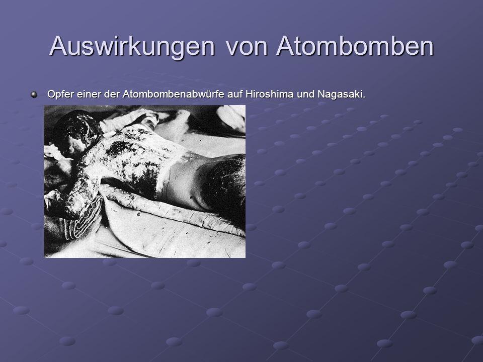Auswirkungen von Atombomben Opfer einer der Atombombenabwürfe auf Hiroshima und Nagasaki.