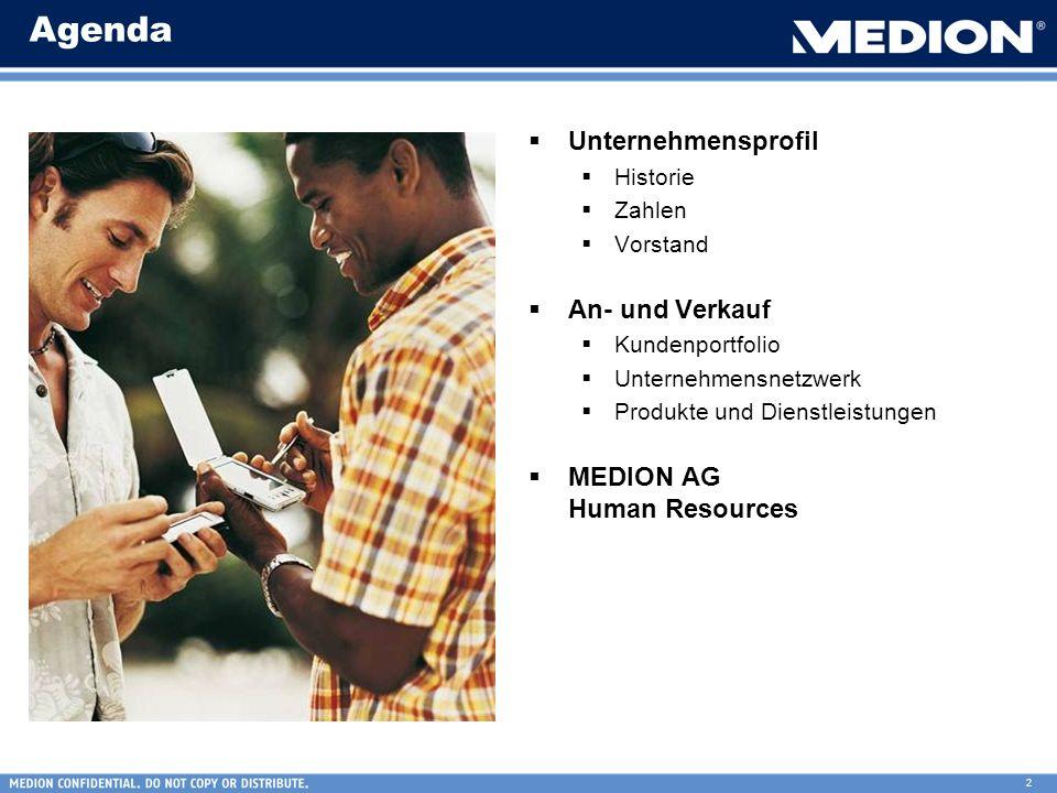 2 Agenda Unternehmensprofil Historie Zahlen Vorstand An- und Verkauf Kundenportfolio Unternehmensnetzwerk Produkte und Dienstleistungen MEDION AG Huma