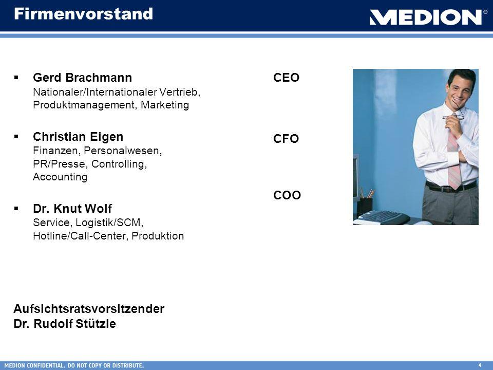 4 Firmenvorstand Gerd Brachmann Nationaler/Internationaler Vertrieb, Produktmanagement, Marketing Christian Eigen Finanzen, Personalwesen, PR/Presse,