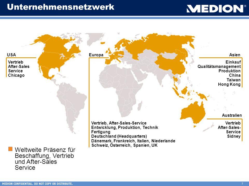 7 Unternehmensnetzwerk AsienEuropaUSA Australien Weltweite Präsenz für Beschaffung, Vertrieb und After-Sales Service Vertrieb After-Sales Service Chic