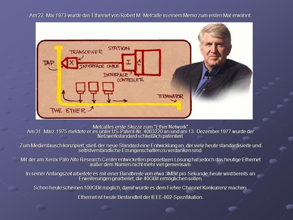 Am 22. Mai 1973 wurde das Ethernet von Robert M. Metcalfe in einem Memo zum ersten Mal erwähnt. Metcalfes erste Skizze zum