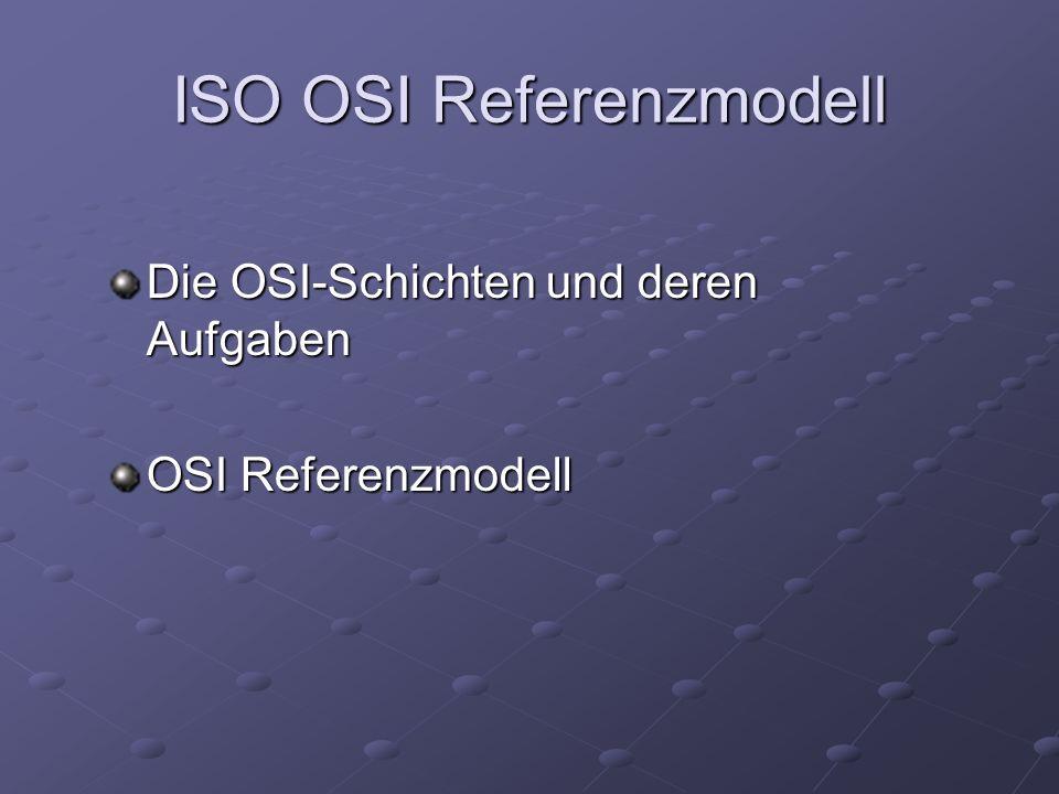 ISO OSI Referenzmodell Die OSI-Schichten und deren Aufgaben OSI Referenzmodell