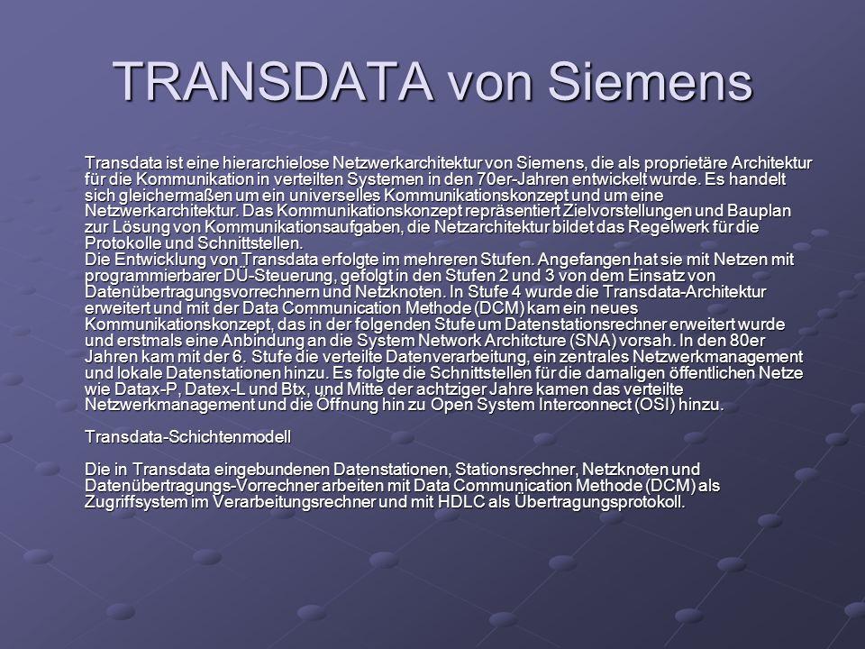 TRANSDATA von Siemens Transdata ist eine hierarchielose Netzwerkarchitektur von Siemens, die als proprietäre Architektur für die Kommunikation in vert