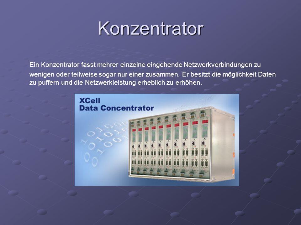 Konzentrator Ein Konzentrator fasst mehrer einzelne eingehende Netzwerkverbindungen zu wenigen oder teilweise sogar nur einer zusammen. Er besitzt die