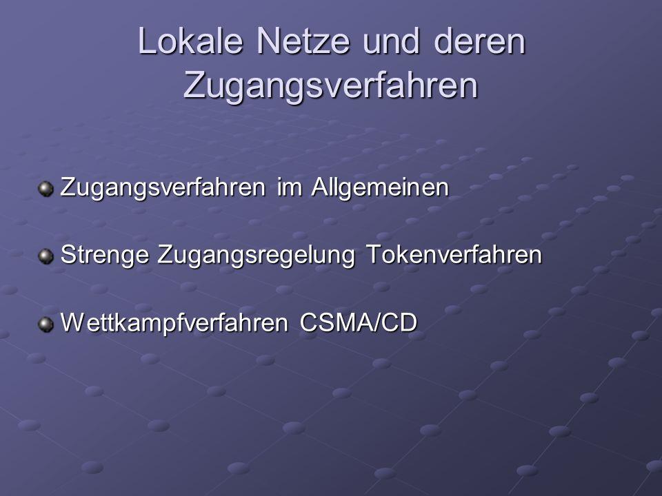 Lokale Netze und deren Zugangsverfahren Zugangsverfahren im Allgemeinen Strenge Zugangsregelung Tokenverfahren Wettkampfverfahren CSMA/CD