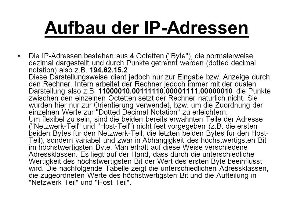 Aufbau der IP-Adressen Die IP-Adressen bestehen aus 4 Octetten (