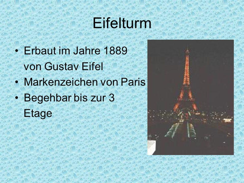 Eifelturm Erbaut im Jahre 1889 von Gustav Eifel Markenzeichen von Paris Begehbar bis zur 3 Etage