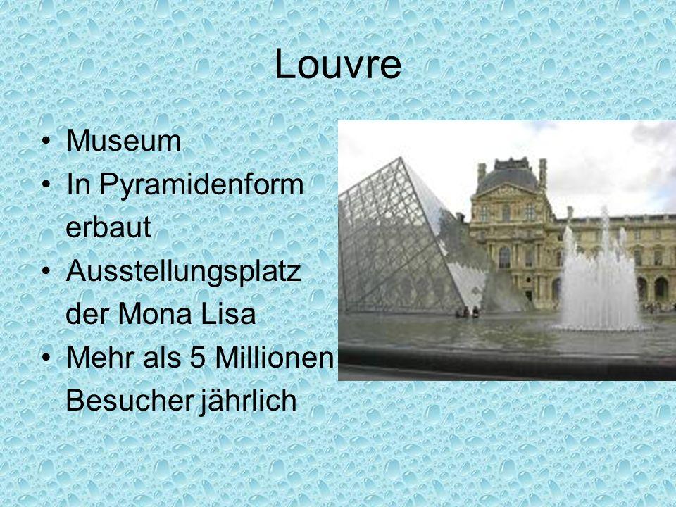 Louvre Museum In Pyramidenform erbaut Ausstellungsplatz der Mona Lisa Mehr als 5 Millionen Besucher jährlich