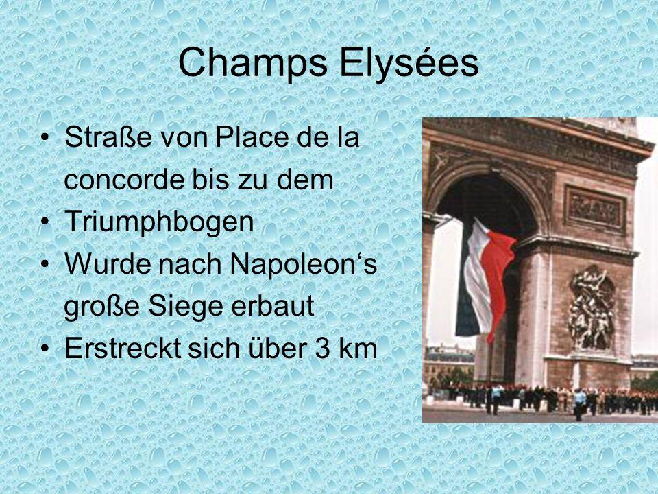 Champs Elysées Straße von Place de la concorde bis zu dem Triumphbogen Wurde nach Napoleons große Siege erbaut Erstreckt sich über 3 km