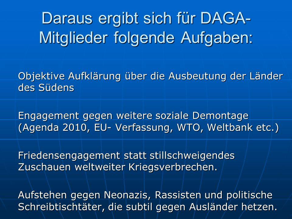 Daraus ergibt sich für DAGA- Mitglieder folgende Aufgaben: Objektive Aufklärung über die Ausbeutung der Länder des Südens Engagement gegen weitere soz