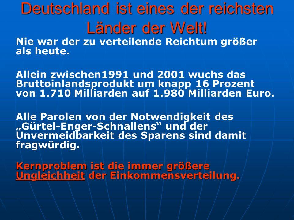 Deutschland ist eines der reichsten Länder der Welt! Nie war der zu verteilende Reichtum größer als heute. Allein zwischen1991 und 2001 wuchs das Brut