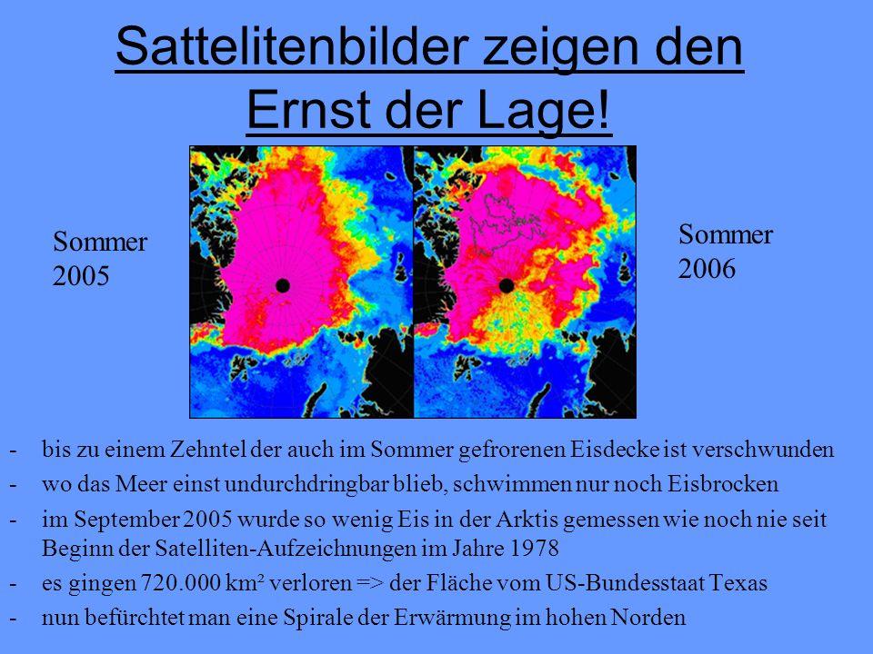 Gründe für die Erwärmung Höhere Emissionen der Treibhausgase => höhere Sonneneinstrahlung Durch das schmilzende Eis mehr Wasserfläche dunkles Wasser erhitzt sich schneller als helles Eis