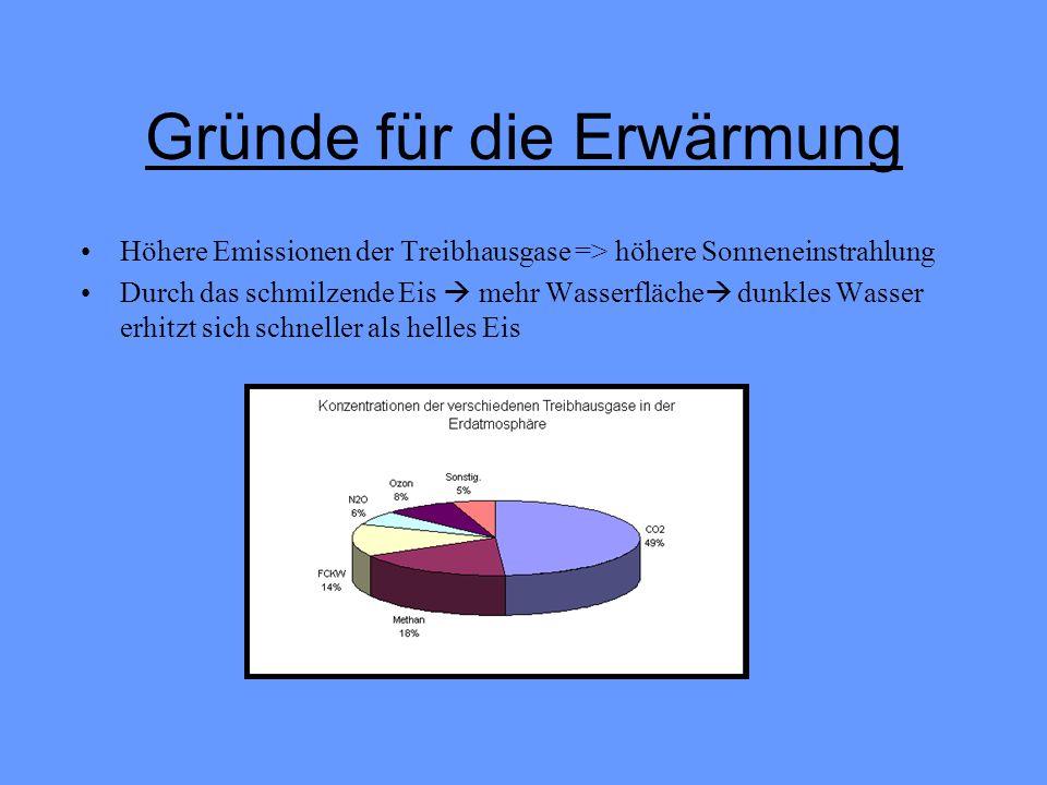 Gründe für die Erwärmung Höhere Emissionen der Treibhausgase => höhere Sonneneinstrahlung Durch das schmilzende Eis mehr Wasserfläche dunkles Wasser e