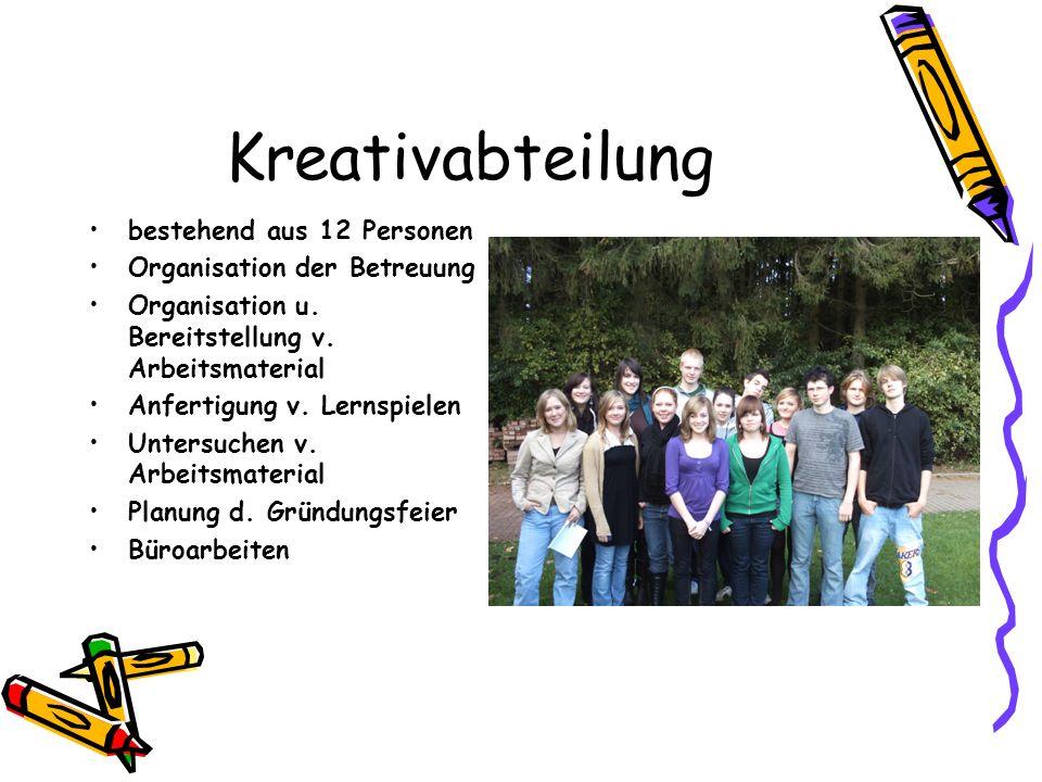 Kreativabteilung bestehend aus 12 Personen Organisation der Betreuung Organisation u.