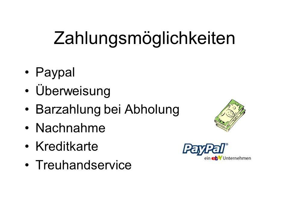 Zahlungsmöglichkeiten Paypal Überweisung Barzahlung bei Abholung Nachnahme Kreditkarte Treuhandservice