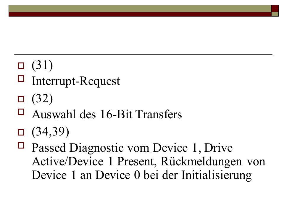 (31) Interrupt-Request (32) Auswahl des 16-Bit Transfers (34,39) Passed Diagnostic vom Device 1, Drive Active/Device 1 Present, Rückmeldungen von Device 1 an Device 0 bei der Initialisierung