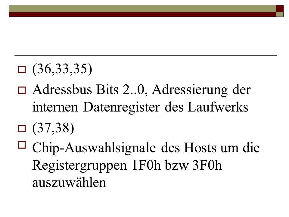 (36,33,35) Adressbus Bits 2..0, Adressierung der internen Datenregister des Laufwerks (37,38) Chip-Auswahlsignale des Hosts um die Registergruppen 1F0h bzw 3F0h auszuwählen