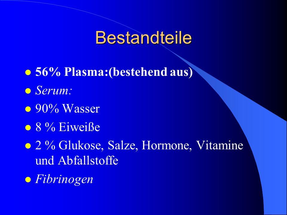 Bestandteile l 56% Plasma:(bestehend aus) l Serum: l 90% Wasser l 8 % Eiweiße l 2 % Glukose, Salze, Hormone, Vitamine und Abfallstoffe l Fibrinogen