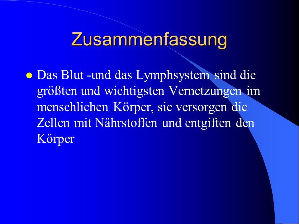 Zusammenfassung l Das Blut -und das Lymphsystem sind die größten und wichtigsten Vernetzungen im menschlichen Körper, sie versorgen die Zellen mit Nährstoffen und entgiften den Körper