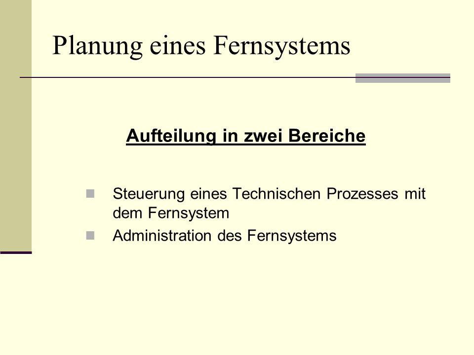 Planung eines Fernsystems Steuerung eines Technischen Prozesses mit dem Fernsystem Administration des Fernsystems Aufteilung in zwei Bereiche