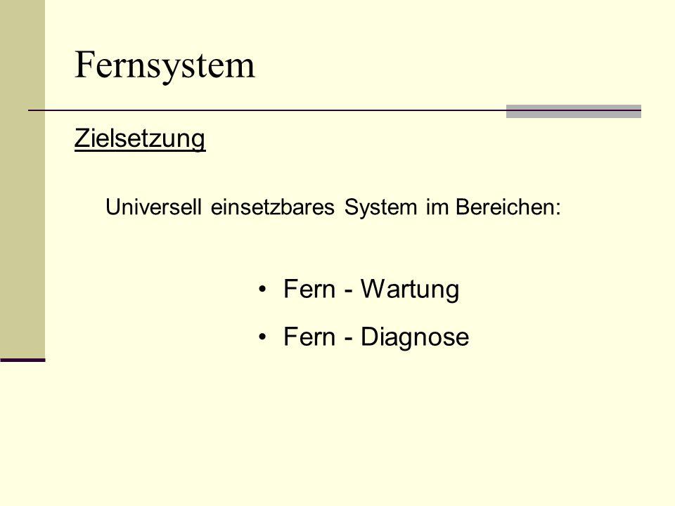Fernsystem Zielsetzung Universell einsetzbares System im Bereichen: Fern - Wartung Fern - Diagnose