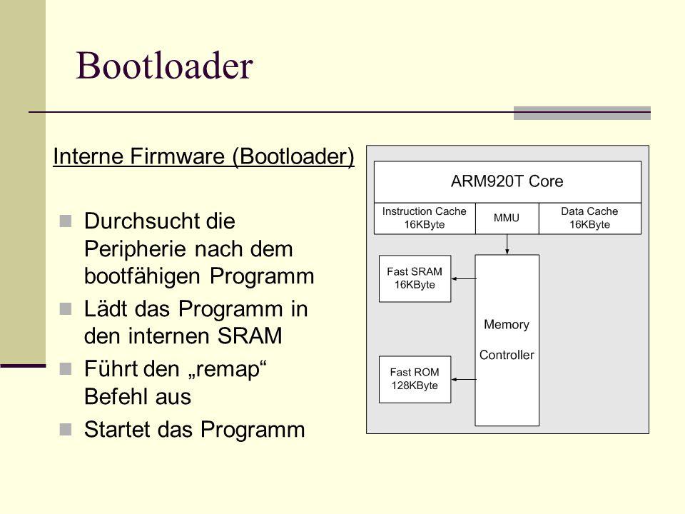 Durchsucht die Peripherie nach dem bootfähigen Programm Lädt das Programm in den internen SRAM Führt den remap Befehl aus Startet das Programm Interne