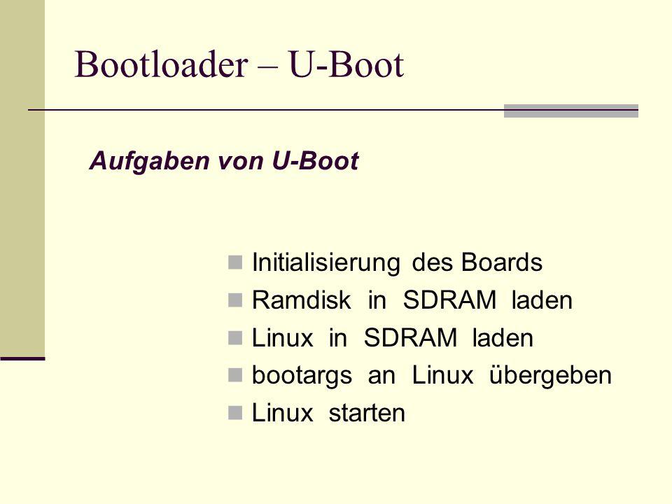 Bootloader – U-Boot Initialisierung des Boards Ramdisk in SDRAM laden Linux in SDRAM laden bootargs an Linux übergeben Linux starten Aufgaben von U-Bo