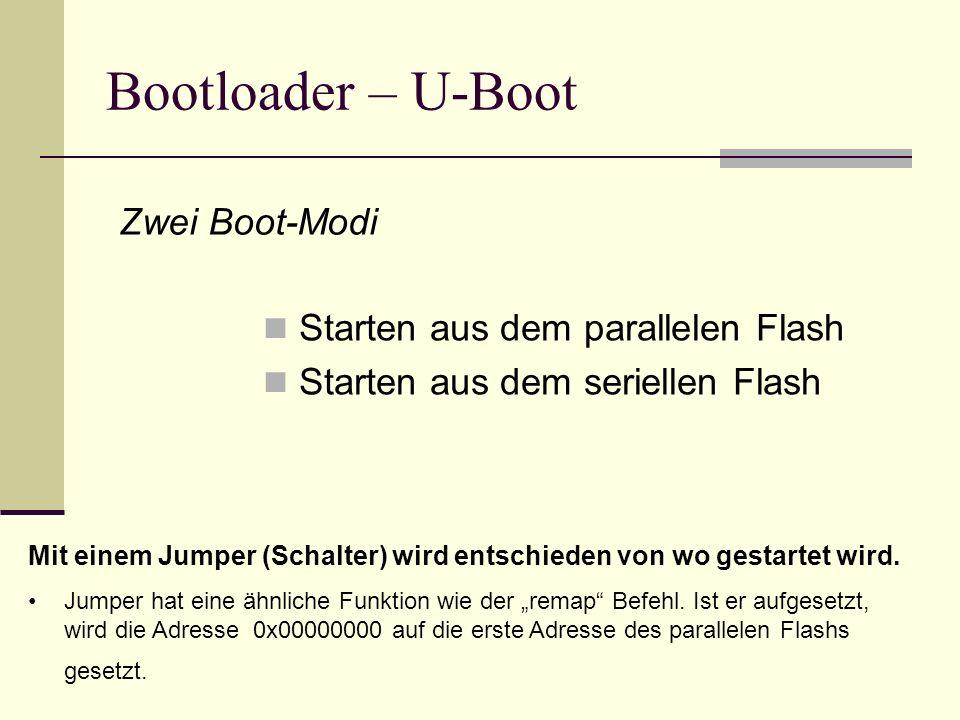 Bootloader – U-Boot Starten aus dem parallelen Flash Starten aus dem seriellen Flash Zwei Boot-Modi Mit einem Jumper (Schalter) wird entschieden von w