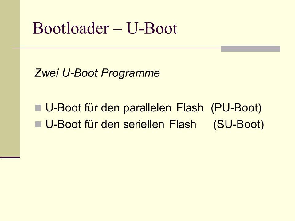 Bootloader – U-Boot U-Boot für den parallelen Flash (PU-Boot) U-Boot für den seriellen Flash (SU-Boot) Zwei U-Boot Programme