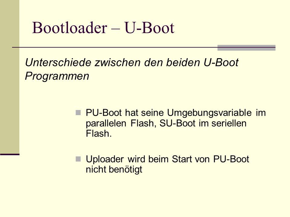 Bootloader – U-Boot PU-Boot hat seine Umgebungsvariable im parallelen Flash, SU-Boot im seriellen Flash. Uploader wird beim Start von PU-Boot nicht be