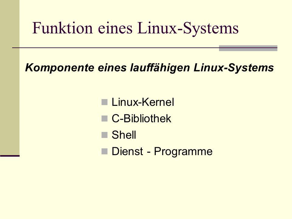 Funktion eines Linux-Systems Linux-Kernel C-Bibliothek Shell Dienst - Programme Komponente eines lauffähigen Linux-Systems