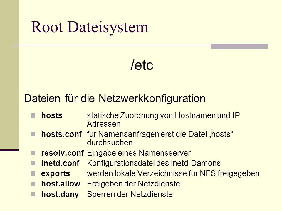 Root Dateisystem hostsstatische Zuordnung von Hostnamen und IP- Adressen hosts.conffür Namensanfragen erst die Datei hosts durchsuchen resolv.confEing