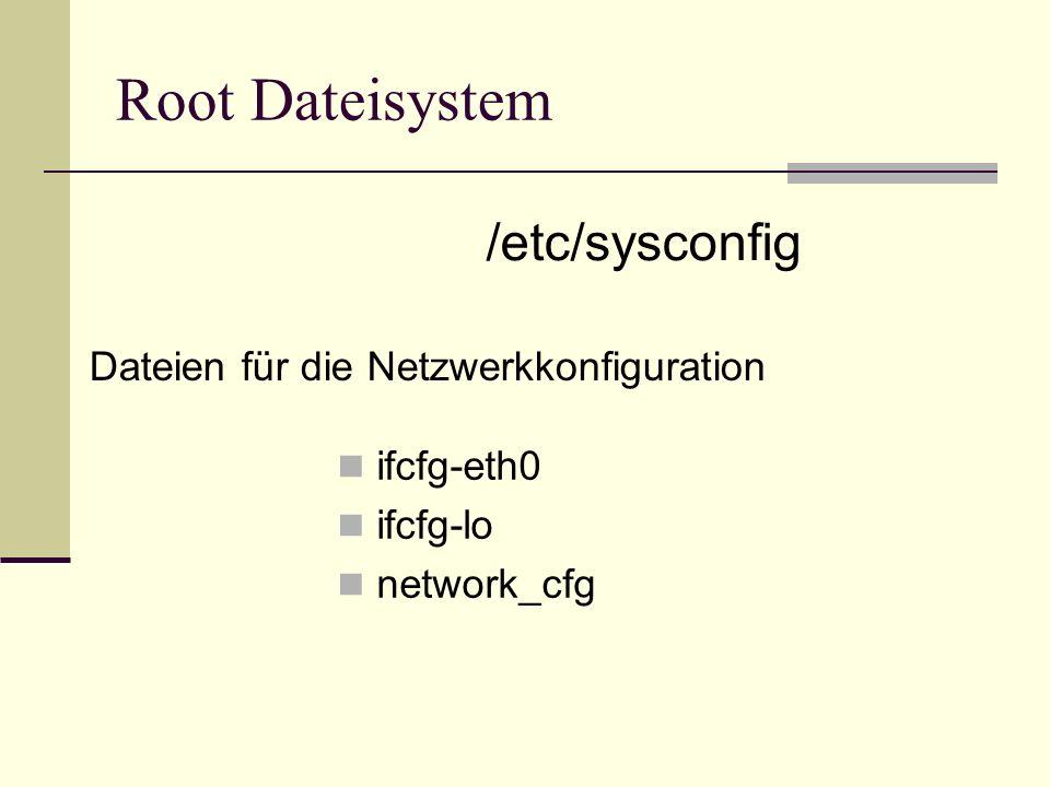 Root Dateisystem ifcfg-eth0 ifcfg-lo network_cfg /etc/sysconfig Dateien für die Netzwerkkonfiguration