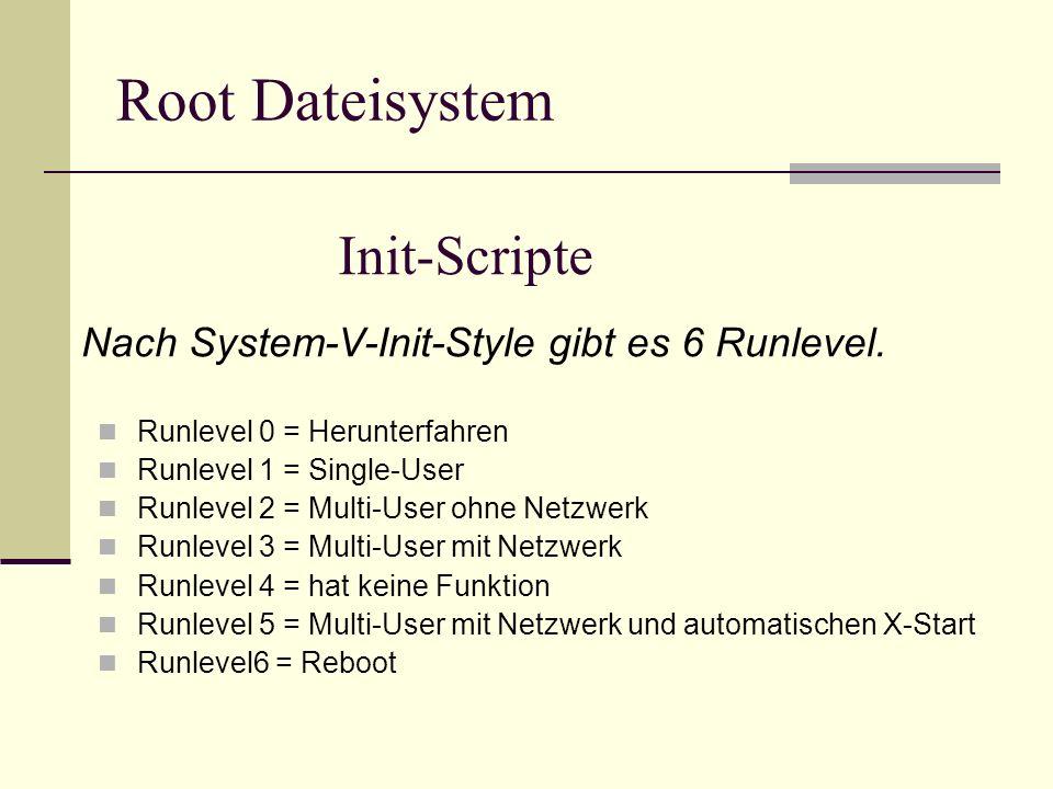 Init-Scripte Runlevel 0 = Herunterfahren Runlevel 1 = Single-User Runlevel 2 = Multi-User ohne Netzwerk Runlevel 3 = Multi-User mit Netzwerk Runlevel