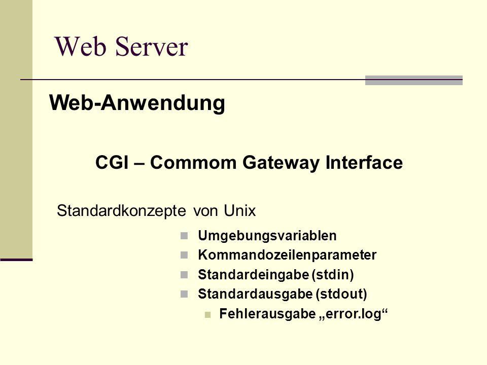 Web Server CGI – Commom Gateway Interface Umgebungsvariablen Kommandozeilenparameter Standardeingabe (stdin) Standardausgabe (stdout) Fehlerausgabe er
