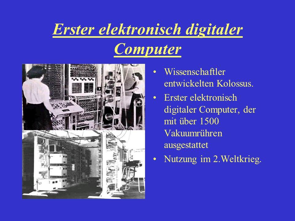 Erster elektronisch digitaler Computer Wissenschaftler entwickelten Kolossus. Erster elektronisch digitaler Computer, der mit über 1500 Vakuumrühren a