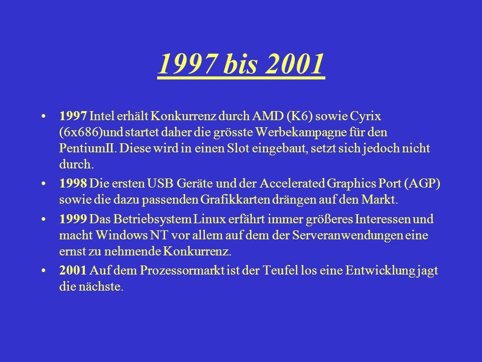 1997 bis 2001 1997 Intel erhält Konkurrenz durch AMD (K6) sowie Cyrix (6x686)und startet daher die grösste Werbekampagne für den PentiumII. Diese wird