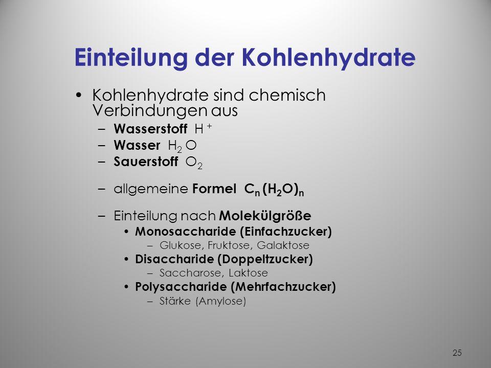 24 1.Kohlenhydrate KH Bildung von KH in der Natur durch Photosynthese in grünen Pflanzen – mit Hilfe von CO 2 (Kohlendioxyd) + H 2 O (Wasser) + Sonnen