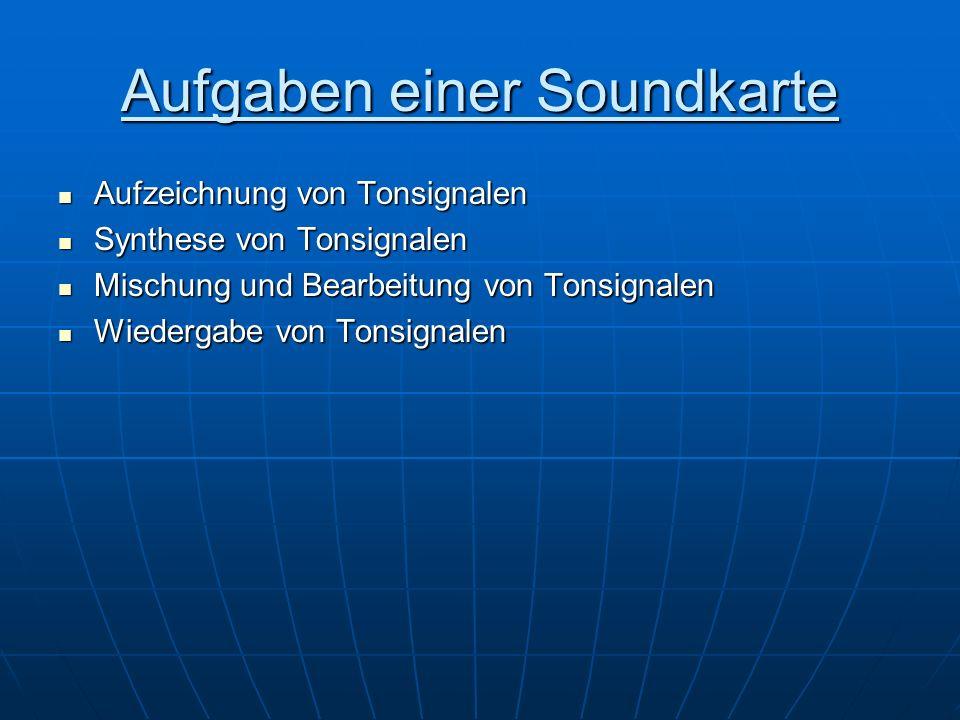 Aufbau einer Soundkarte Line In:CD-Player, Mp3-Player MIC:Mikrofon Line Out:Lautsprecher Rear Out:Subwoover Game Port:Gamepads, Joysticks
