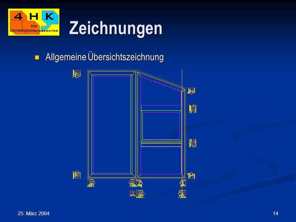 25. März 2004 14 Zeichnungen Allgemeine Übersichtszeichnung Allgemeine Übersichtszeichnung