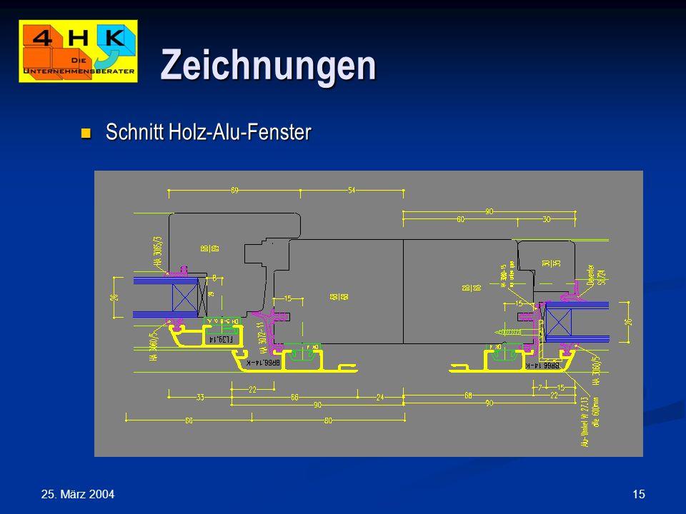 25. März 2004 15 Zeichnungen Schnitt Holz-Alu-Fenster Schnitt Holz-Alu-Fenster