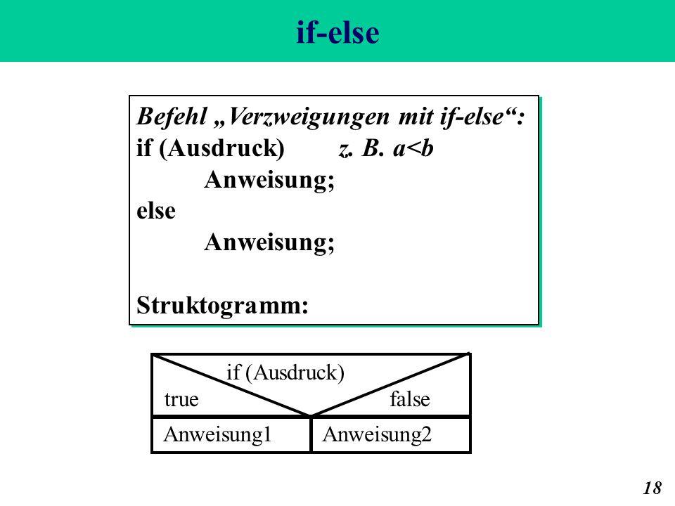 if-else 18 Befehl Verzweigungen mit if-else: if (Ausdruck) z. B. a<b Anweisung; else Anweisung; Struktogramm: Befehl Verzweigungen mit if-else: if (Au